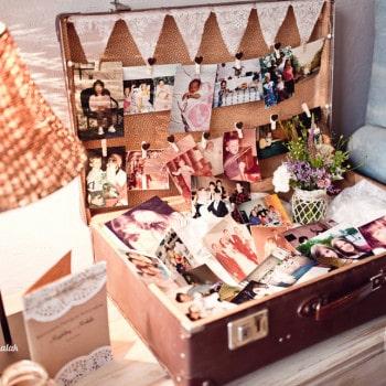 dekoracje ślubne walizki