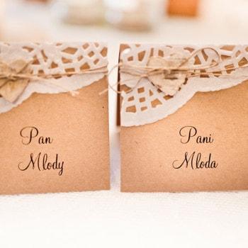 dekoracje ślubne winietki rustykalne